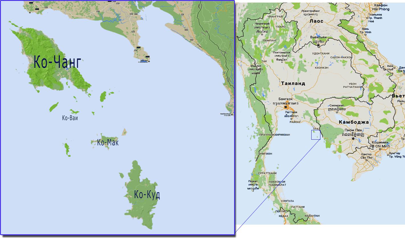 Где находится Ко-Чанг и группа островов на карте