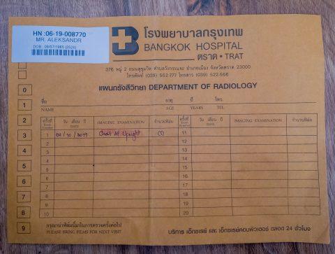 Конверт с лекарствами и бумагами
