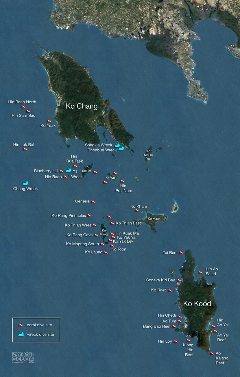 Карта дайв сайтов Ко Чанга