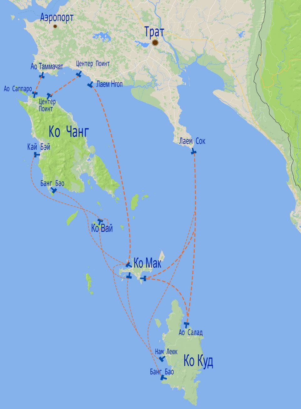 Карта маршрутов паром и лодок на Ко Чанге